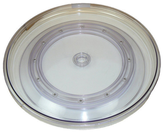 "Clear Plastic Lazy Susan Turntable, 18""."