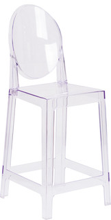 Flash Furniture Ghost Counter Stool, Transparent Crystal With Oval Back