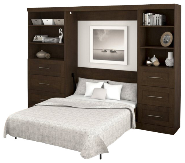 Bestar Pur Full Size Wall Bed In Chocolate Transitional