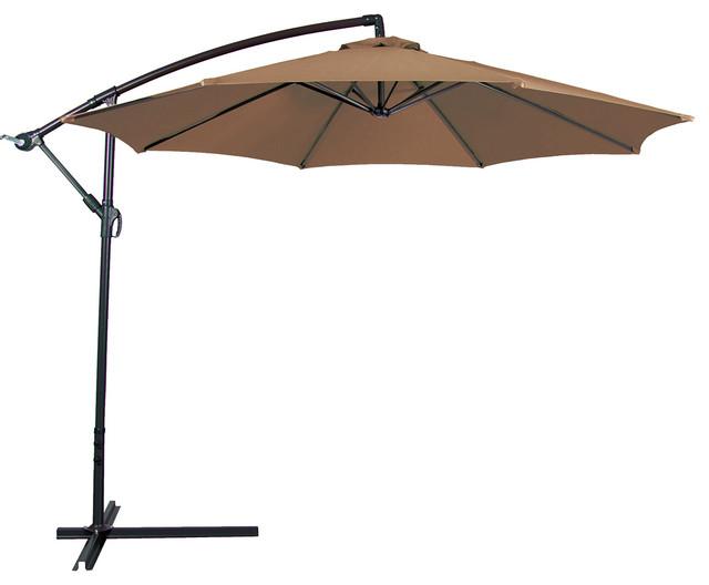 Belleze   Outdoor Patio Umbrella 10u0027 Aluminum Cantilever, Crank And Base,  Beige