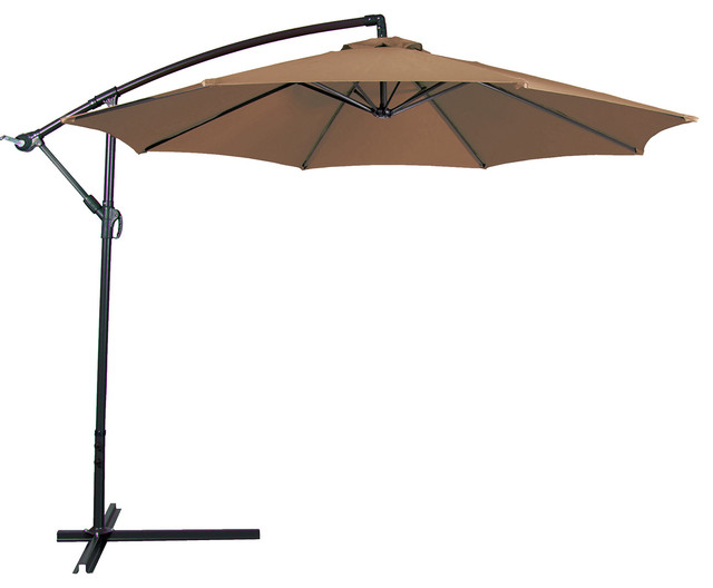 Outdoor Patio Umbrella 10 Aluminum Cantilever Crank And Base Contemporary Umbrellas By Oneoutlet