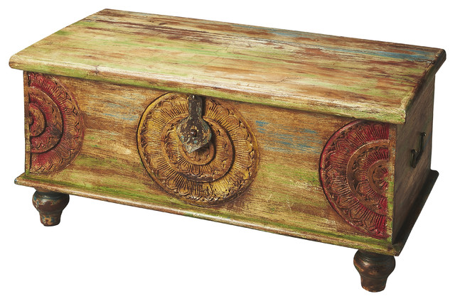 butler mesa carved wood trunk cocktail table - farmhouse - coffee