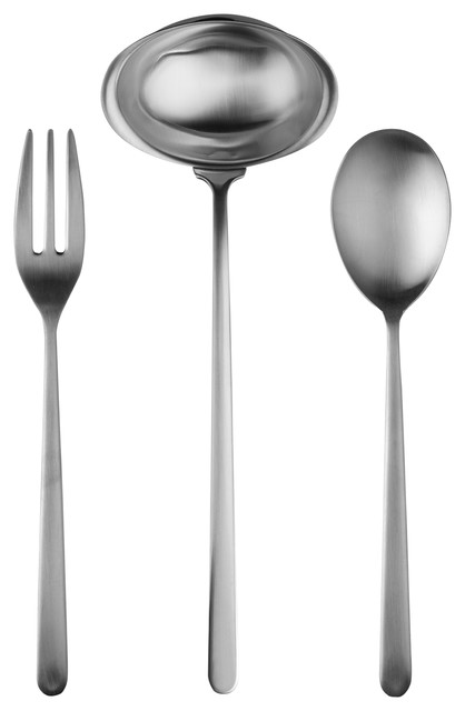 3 Piece Serving Set Fork Spoon And Ladle Linea Contemporary Serving Utensils By Virventures