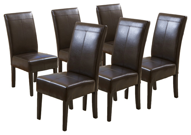 Percival T-Stitched Chocolate Brown Leather Dining Chairs, Set Of 6.