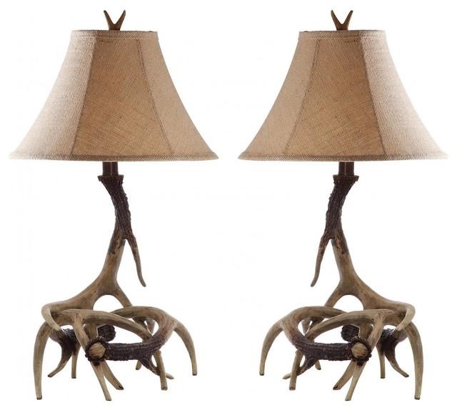 Merveilleux Sundance Polyresin Antler Table Lamps, Set Of 2