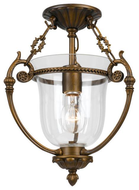 Camden 1-Light Brass Glass Ceiling Mount Iv.