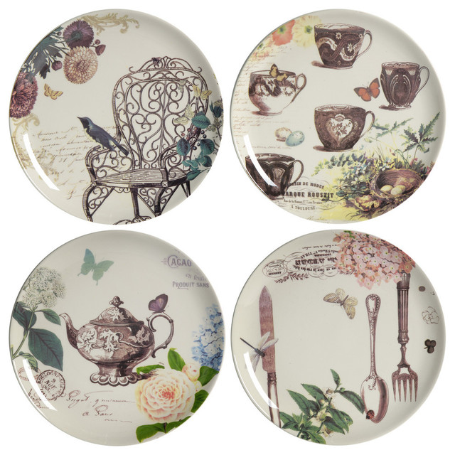 Tea Party Ceramic Plates Set Of 4 Different Plates