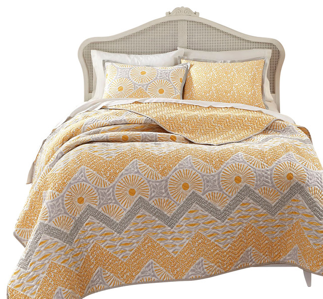 KD Spain Sunnyside Yellow-Gold Gray Quilt Sham Set - Contemporary ... : yellow and gray quilt - Adamdwight.com