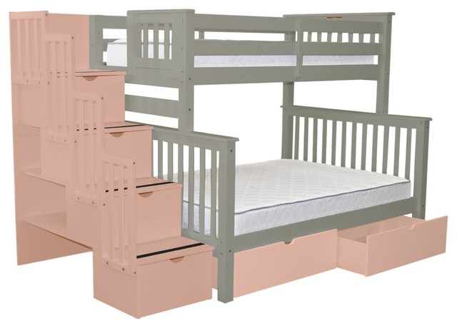 Bedz King Bunk Beds Twin Over Full Stairway 4 Pink Steps