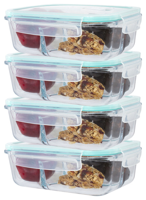 35 Oz. 3 Glass Compartment Food Container, Set Of 4