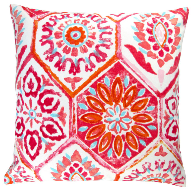 """Outdoor 18"""" Pink Geometric Pillow Covers, Set of 2, Without Pillow Insert"""