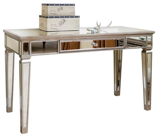 Abbyson Living Omni Mirrored Writing Desk, Silver.