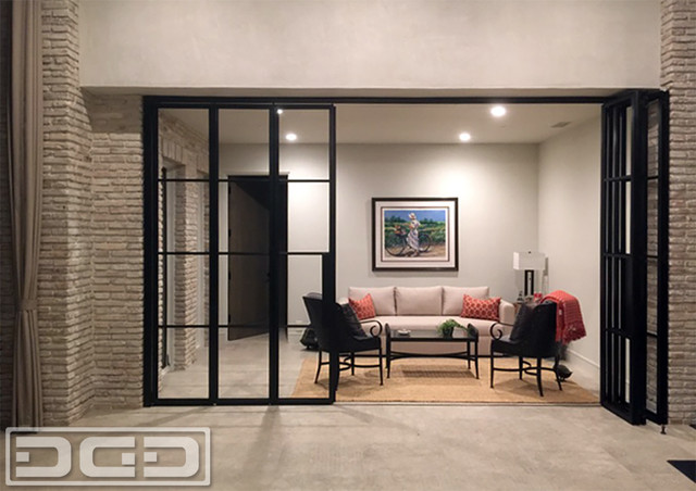 Panoramic Accordion Patio Doors In A Bronze Metal Frame