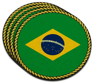 Made on Terra Flag of Brazil MDF Wood Coaster, Set of 4 - Coasters ...
