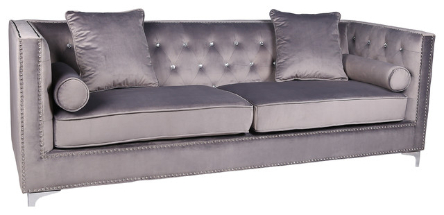Diamante Crystal Mink Brushed Velvet 4 Seater Square Edge Luxury Sofa, Grey