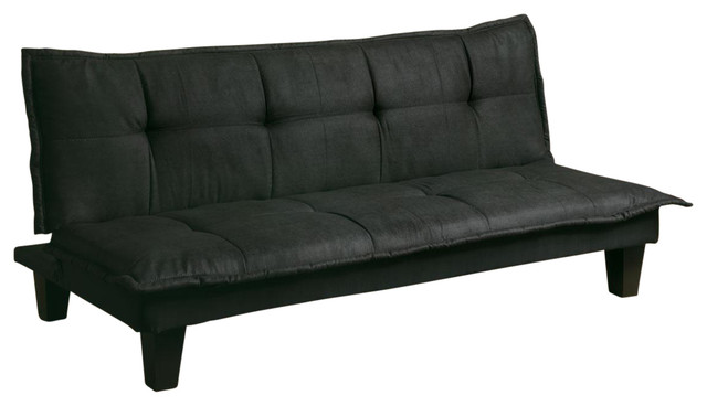 Casual Black Fabric Padded Convertible Futons Sofa Double Bed Sleeper