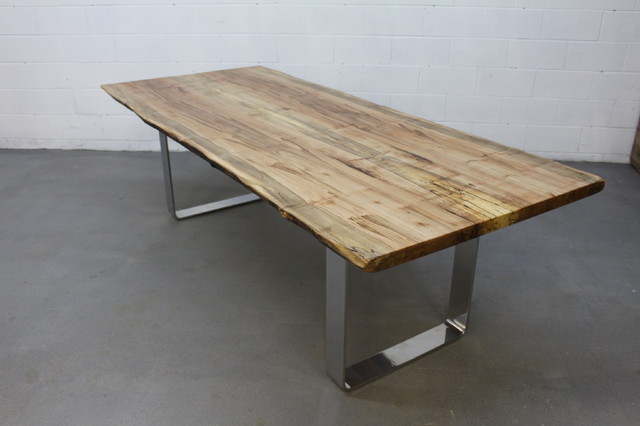 Stunning Silver Maple Slab Dining Table With Modern Chrome Base Dining Tabl