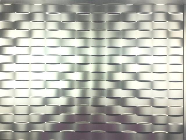 """Weave Backsplash Tiles Decorative Wall Paneling, 18""""x24"""", Brushed Aluminum."""