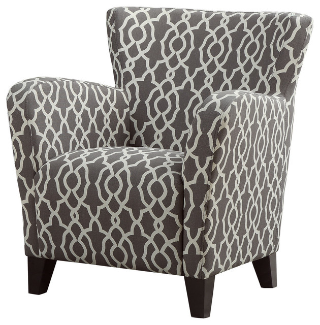 Bell Pattern Fabric Accent Chair, Brown/White  contemporary-armchairs-and-accent