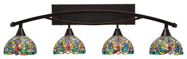"Bow 4Lt Bath Bar Bk Copper Finish W/7"" Kaleidoscope Tiff Glass (174-BC-9905)"