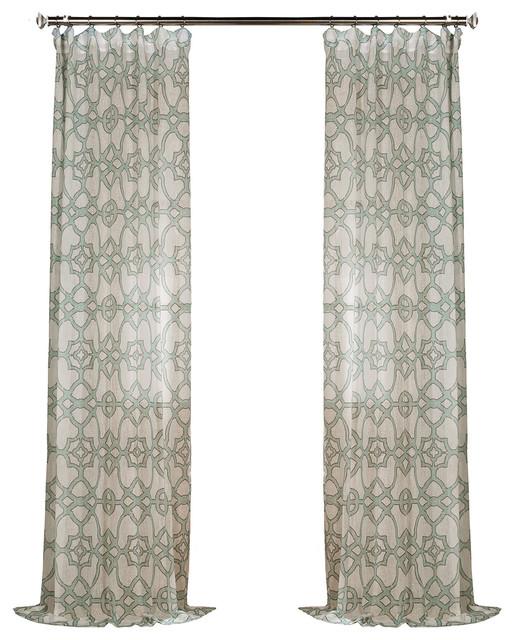 "Seaglass Blue Printed Sheer Curtain Single Panel, 50""x108""."
