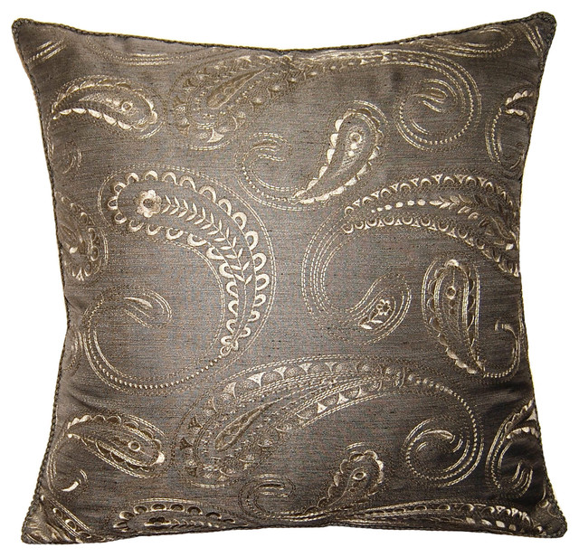 Square Feathers, Rhome Living LLC Mayfair Pillow, Paisley Pillow - Decorative Pillows Houzz