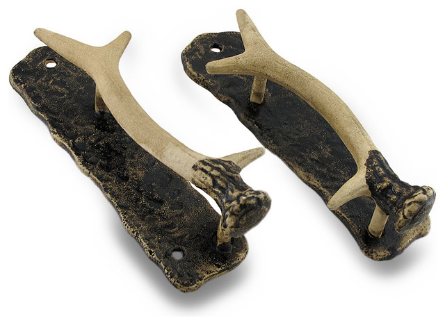 Decorative Metal Antler Handle Rustic Door Pull, 2-Piece ...
