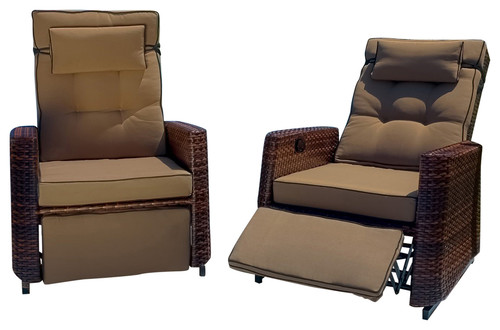 Best Selling Home Decor Outdoor Wicker Recliners, Set Of 2 · More Info