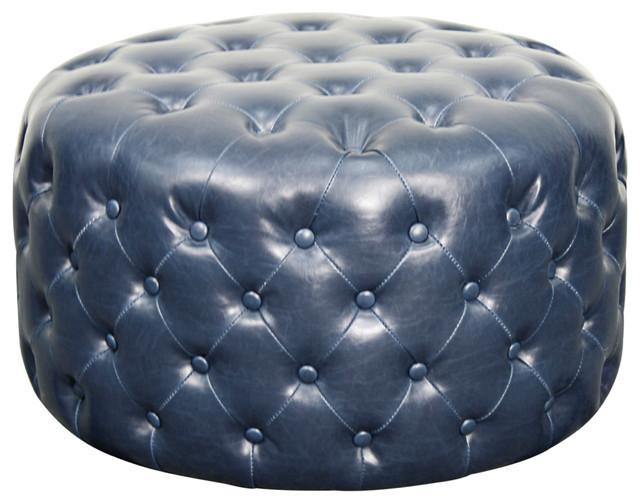 Lulu Round Bonded Leather Ottoman, Vintage Blue