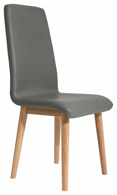 Contemporary Dining Chair Solid Oak Wood Faux Leather Upholstery Chairs By Decor Love