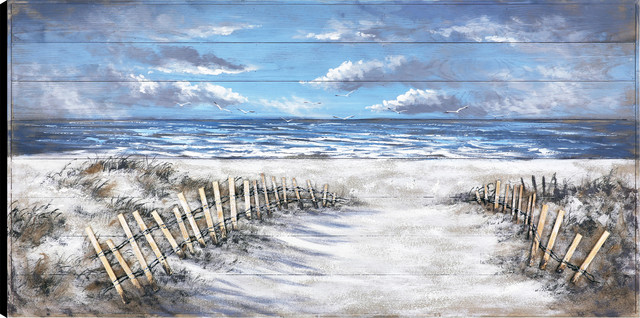 """""""walk To The Beach"""" Frameless Hand-Painted On Wood, By Tina O., 30""""x60""""."""