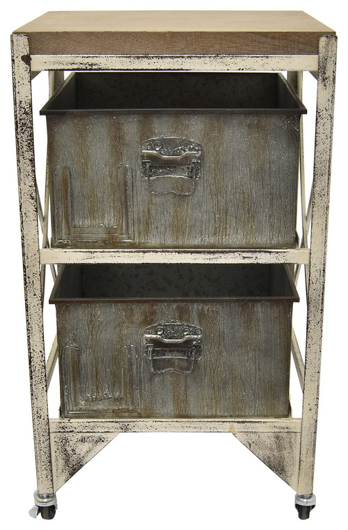 Three Hands Metal, Wood Cabinet, Gray, 27.75