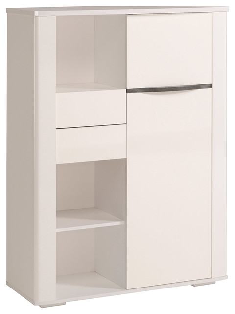 Nice Ceram High Gloss White Credenza Cabinet With Drawers And Doors  Contemporary Bedroom Furniture