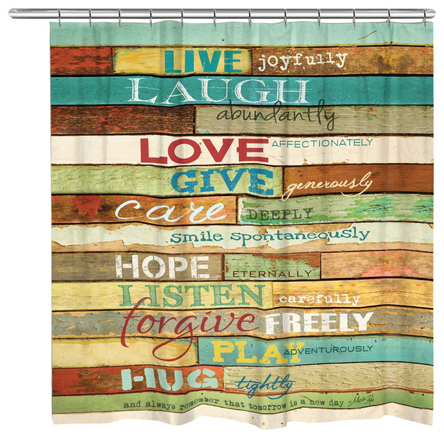 Laural Home Live Laugh Love Shower Curtain