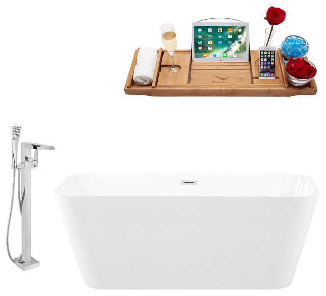 "Tub, Faucet and Tray Set Streamline 59"" Freestanding"