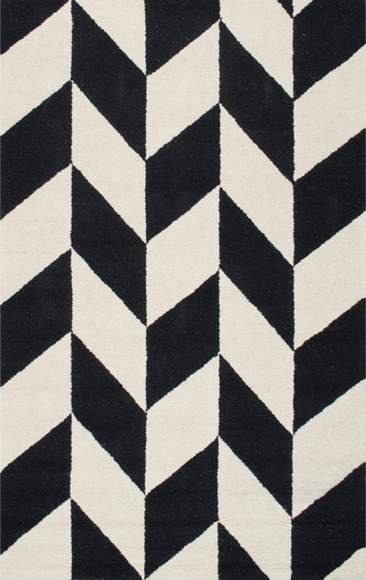 Hand-Tufted Mod Tiles Wool Rug, Black/white, 5&x27;x8&x27;.