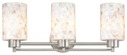 Modern Bathroom Light With Mosaic Glass, Satin Nickel.