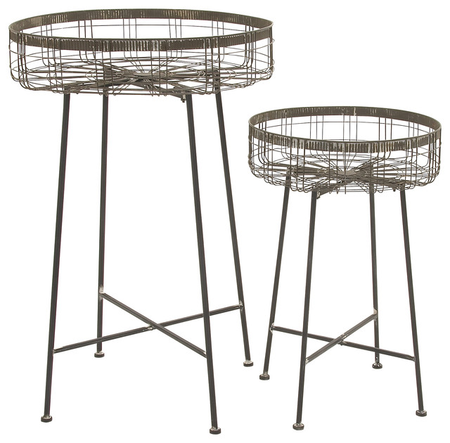 Metal Planter Stands Set Of 2 Industrial Plant Stands
