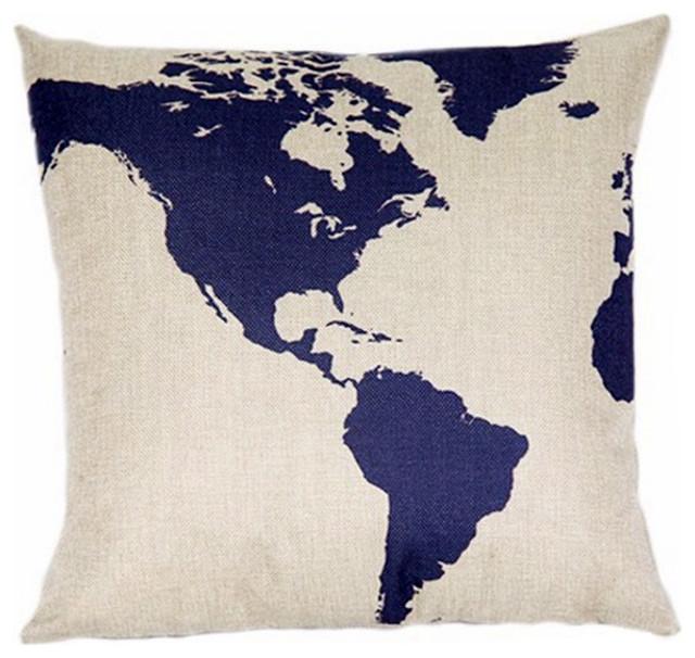"Globe Map Print Linen Blend Decorative Throw Pillow Cover Case, 17"" Square."