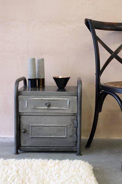 Black Metal Bedside Tables: Vintage Style Metal Cabinet Bedside Table