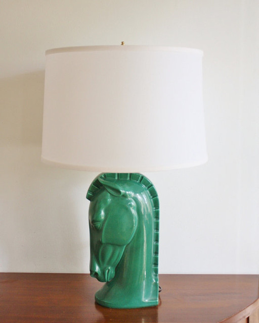 Vintage Emerald Green Horse Head Table Lamp by High Street Market