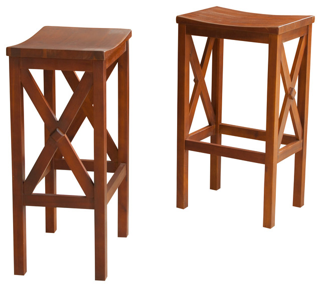 Celberry Brown Mahogany Stools Bar Height Set Of 2