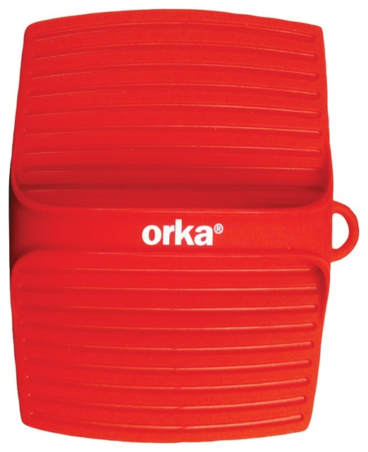 Red Pot Holders: Orka Square Pot Holder With Handle, Red