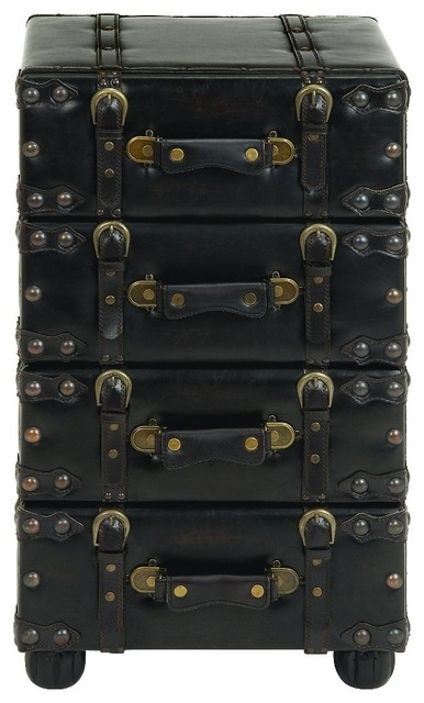 Merveilleux Travel Suitcase 4 Drawer Storage Chest Leather Metal Buckles Home Decor