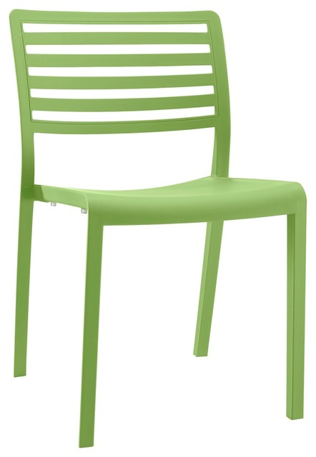 Modern Contemporary Urban Outdoor Kitchen Room Dining Chair, Green, Plastic
