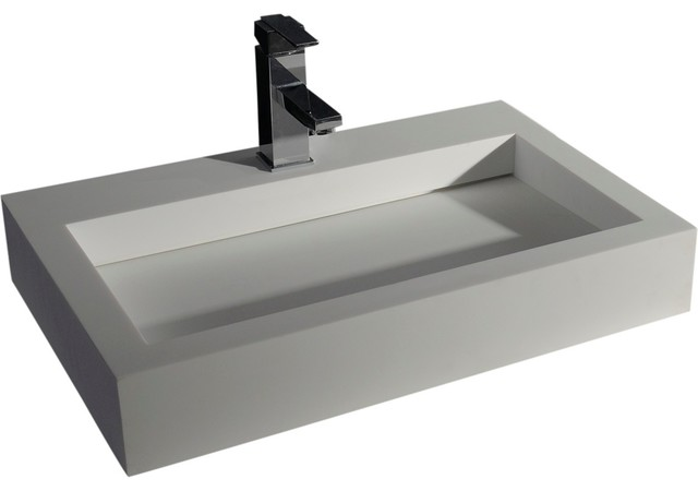 Rectangular 24 Solid Surface Vessel Sink Bowl Above Counter Lavatory