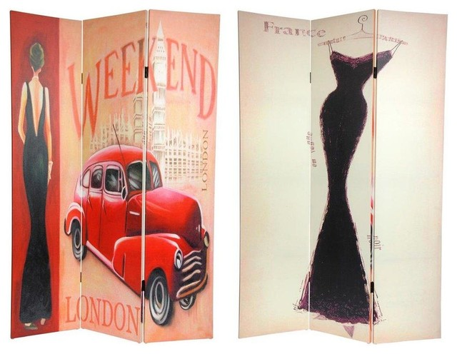 Tall Double Sided Vintage Weekend Canvas Room Divider - London  contemporary-screens - 6 Ft. Tall Double Sided Vintage Weekend Canvas Room Divider