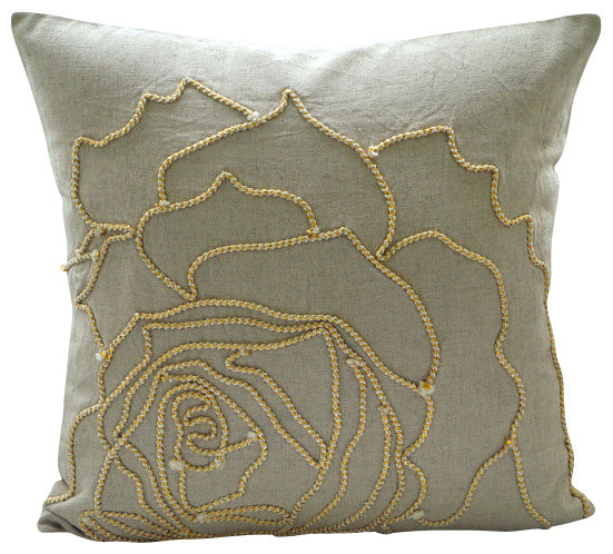 Beige Jute Rose Flower 20x20 Cotton Linen Pillows Covers For Couch, Linen Rose.