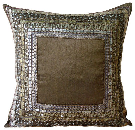 "Brown 3d Sequins Antique 20""x20"" Silk Pillow Covers, Ethnic Origins."