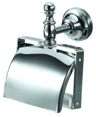 Classic Toilet Roll Holder With Lid, Chrome